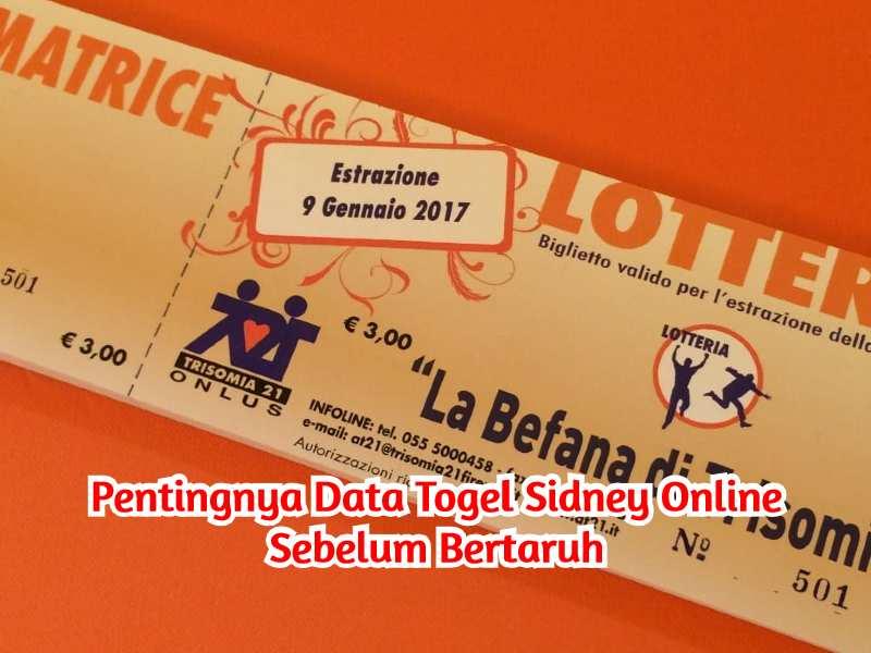 Data Togel Sidney Online
